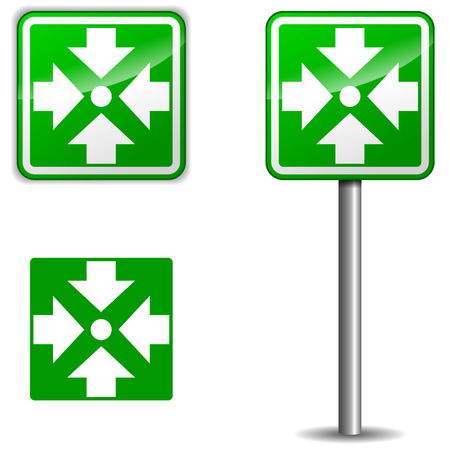 assembly point: vector illustration of assembly point signpost on white background