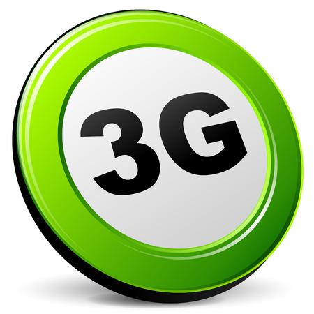 3g: Ilustraci�n del vector del icono de 3g 3d en el fondo blanco