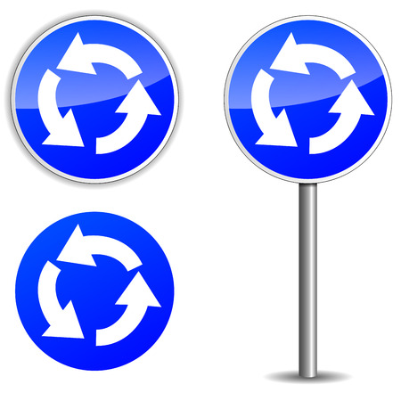 roundabout: Vector illustration of roundabout blue signpost on white background Illustration