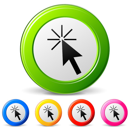 mouse cursor: Vector illustration of click icons on white background Illustration