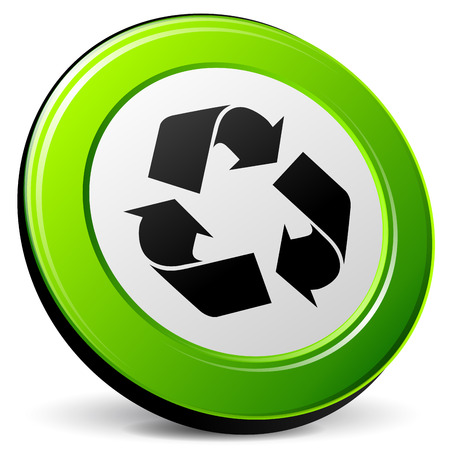 Vector illustration of recycle 3d icon on white background