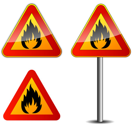 flammable materials: Vector illustration of fire signpost on white background Illustration