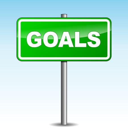 Vector illustration of green goals signpost on sky background Ilustração Vetorial