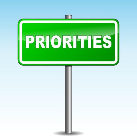 prioridades: Ilustraci�n del vector de prioridades se�al verde sobre fondo de cielo