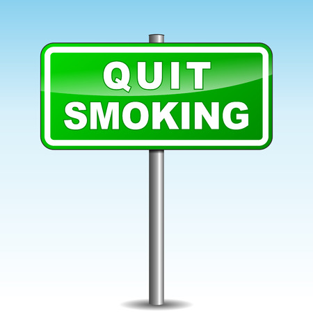 Vector illustration of green quit smoking signpost on sky background Vector