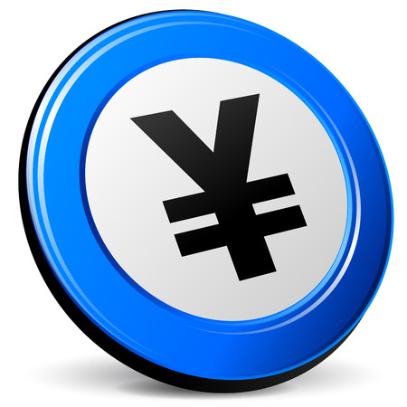 Vector illustration of yen 3d icon on white background Vector