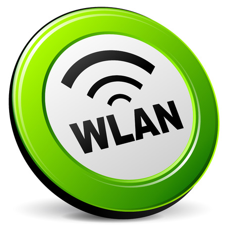 wlan: Vector illustration of wlan 3d icon on white background Illustration