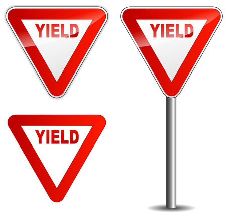 Vector illustration of yield sign on white background