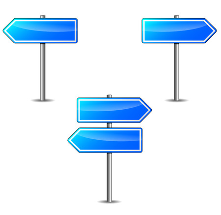 two way traffic: Vector illustration of blue arrows empty on white background