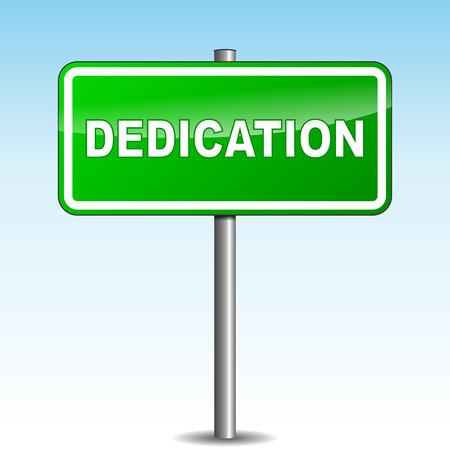 dedication: Vector illustration of green dedication signpost on sky background
