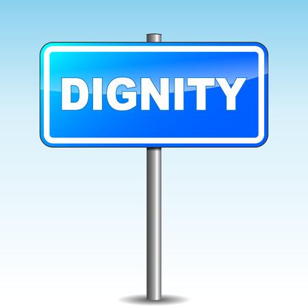 dignidad: Ilustraci�n vectorial de azul se�al dignidad en el fondo del cielo