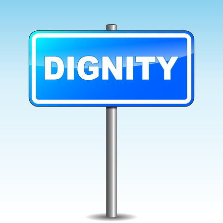 Vector illustration of blue dignity signpost on sky background Illustration