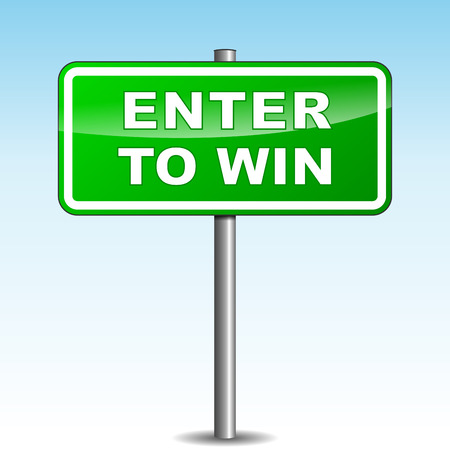 lottery win: Vector illustration of green enter signpost on sky background Illustration