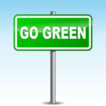 Vector illustration of go green signpost on sky background Vector
