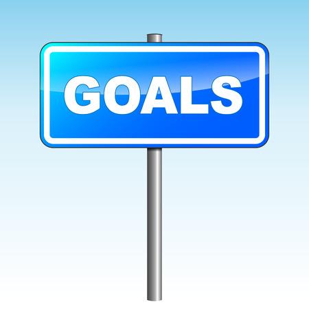 smart goals: Vector illustration of blue goals signpost on sky background