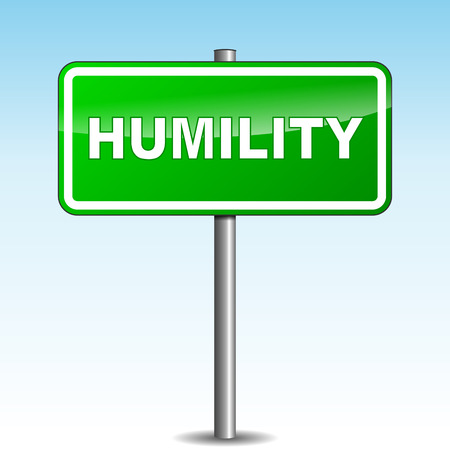 humility: Vector illustration of green humility signpost on sky background