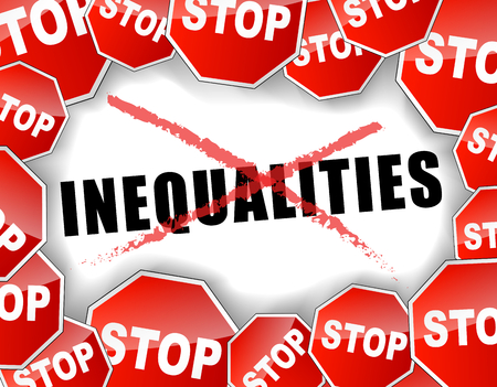 inequality: Vector illustration of stop inequalities concept background Illustration