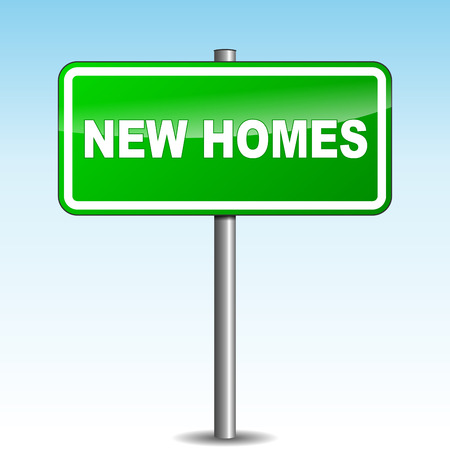 new homes: Vector illustration of new homes green signpost on sky background