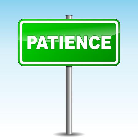 paciencia: Ilustraci�n vectorial de paciencia se�al verde Vectores