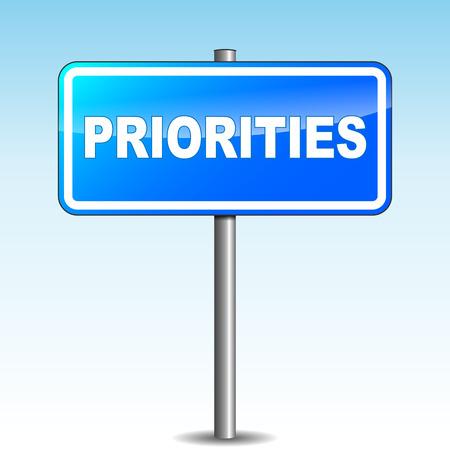 prioridades: Prioridades azules Vector Poste indicador en el fondo del cielo
