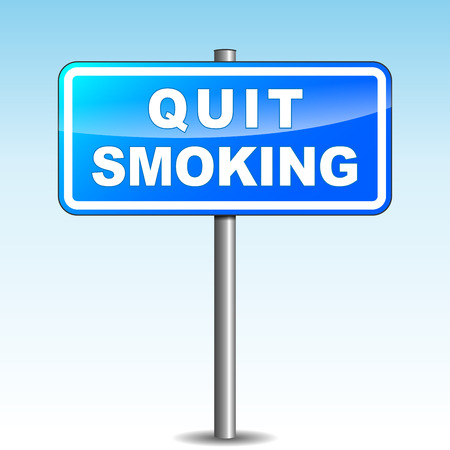 quit: Vector illustration of blue quit smoking signpost on sky background