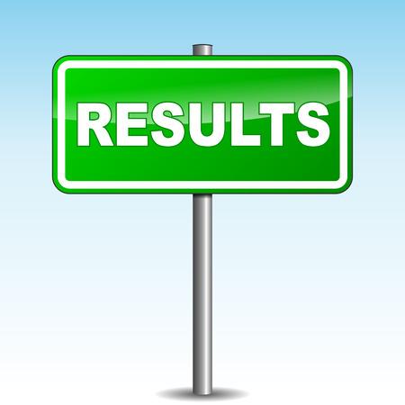 Vector illustration of green results signpost Illustration