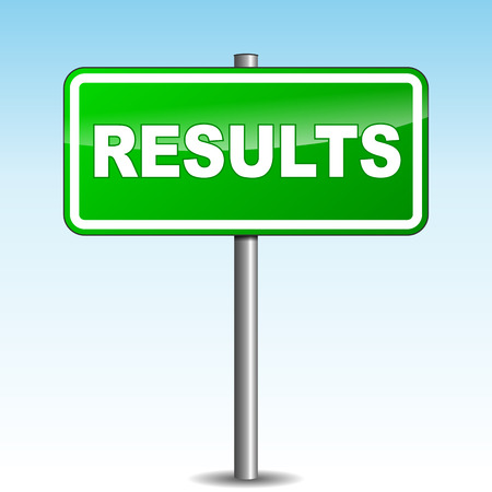conclusions: Vector illustration of green results signpost Illustration