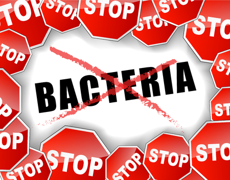Vector illustration of stop bacteria concept background
