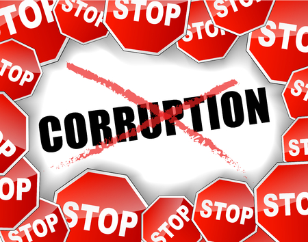 Ilustración del vector del concepto de corrupción parada fondo