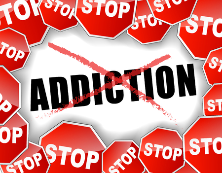 Vector illustration of stop addiction concept background Vector