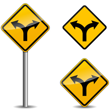 Vector illustration of yellow arrows signpost on white background