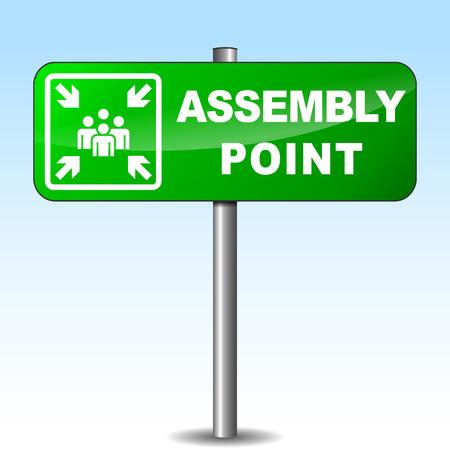 assembly point: Vector illustration of assembly point sign on sky background Illustration
