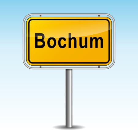Vector illustration of bochum signpost on sky background Illustration