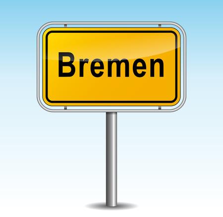 bremen: Vector illustration of bremen signpost on sky background