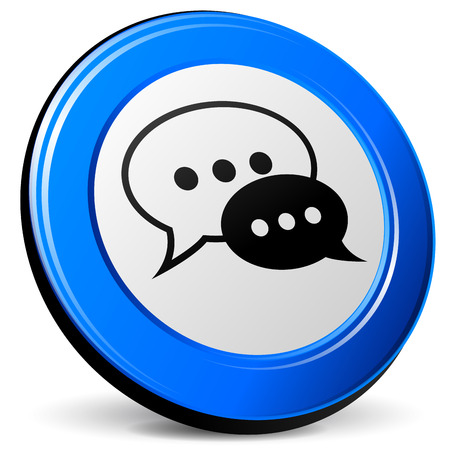 Vector illustration of chat 3d blue icon on white background Vector