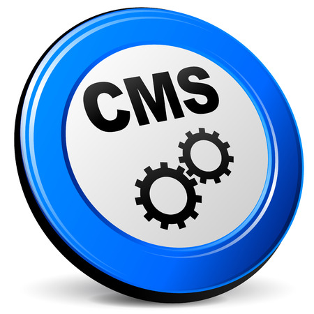 cms: Vector illustration of cms blue 3d icon on white background