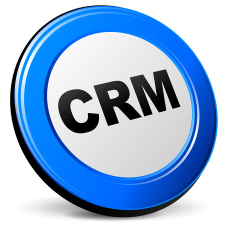 crm: Vector illustration of 3d blue crm icon on white background Illustration