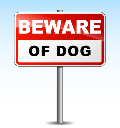 beware of the dog: Vector illustration of beware dog signpost on sky background