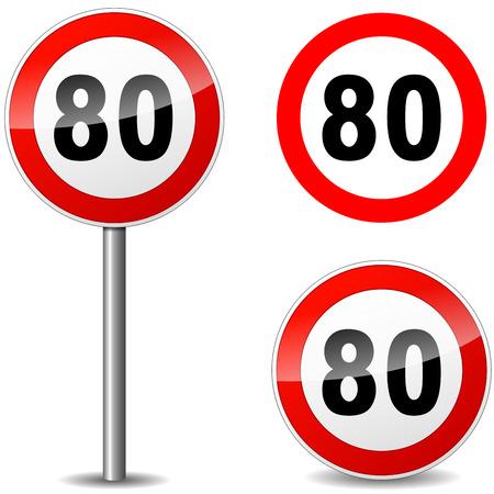 achtzig: Vektor-Illustration von achtzig Regulierung Zeichen auf wei�em Hintergrund Illustration