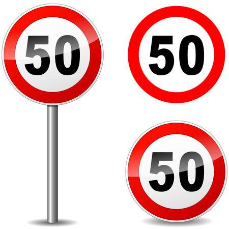 kilometres: Vector illustration of fifty regulation sign on white background Illustration