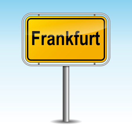 frankfurt: Vector illustration of frankfurt signpost on sky background Illustration