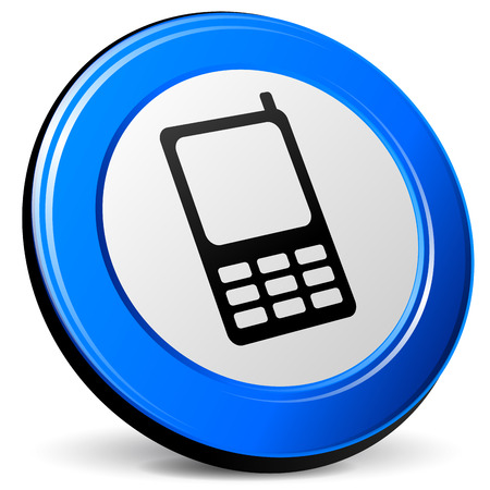 mobil: Vector illustration of 3d blue mobil phone on white background Stock Illustratie