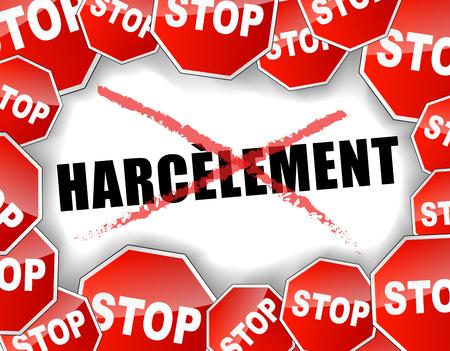 Vector illustration française du concept de harcèlement arrêt fond