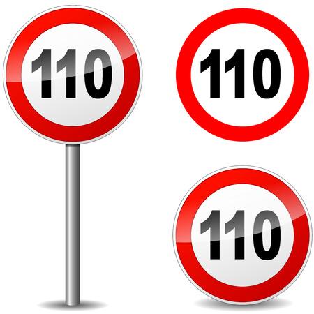 road ring: Vector illustration of hundred ten sign on white background