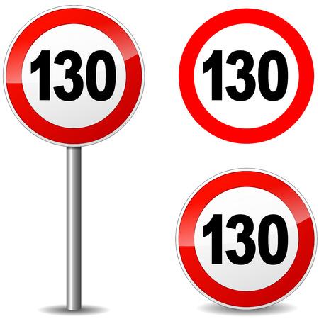 road ring: Vector illustration of hundred thirty sign on white background Illustration