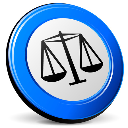 Vector illustration of justice 3d blue icon on white background Vector