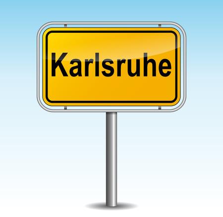 karlsruhe: Vector illustration of karlsruhe signpost on sky background