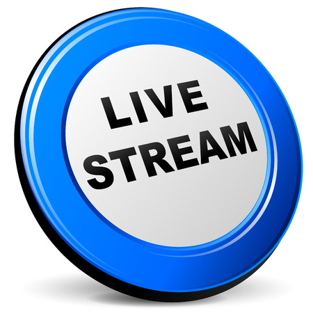 livestream: Vector illustration of live stream 3d blue icon on white background