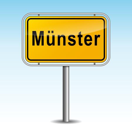 munster: Vector illustration of muenster signpost on sky background