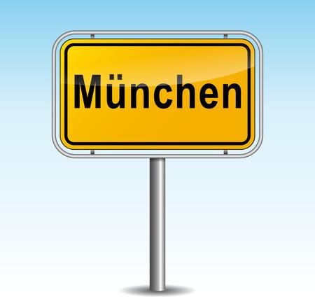 m�nchen: Vector illustratie van münchen wegwijzer op hemelachtergrond